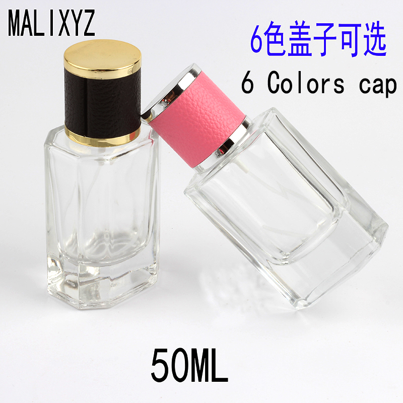 New Style 50ml Color Cap Clear Glass Spray Refillable Perfume Bottles Glass Automizer Empty Cosmetic Container For Travel