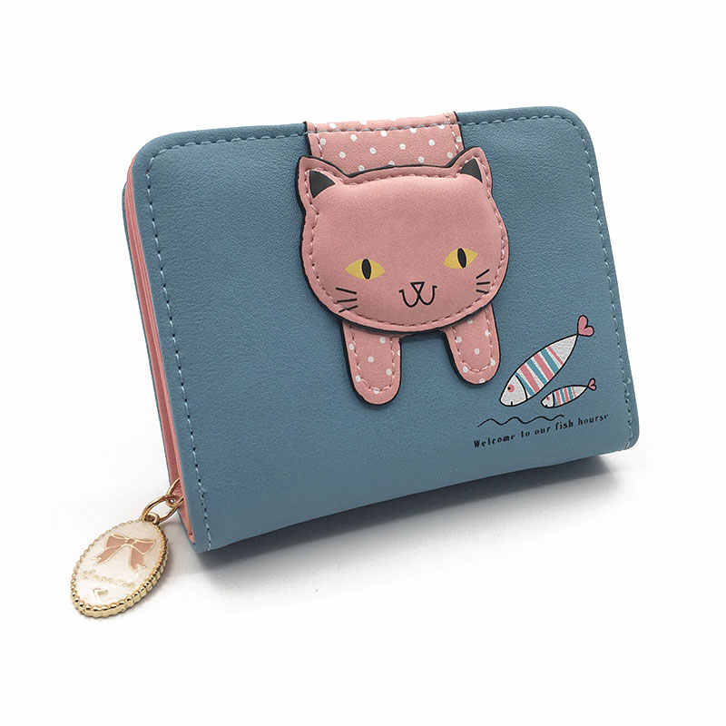 c03a610d988 ... Women cute cat wallet small zipper girl wallet brand designed pu  leather women coin purse female ...