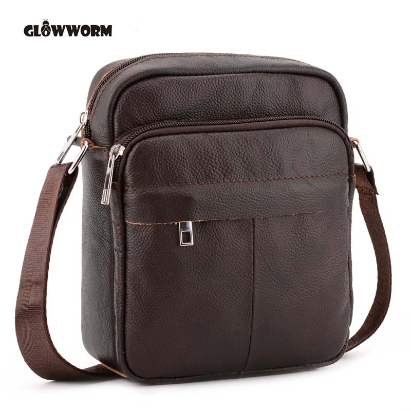 цена на Genuine Leather Men Bags Hot Sale Male Small Messenger Bag Man Fashion Crossbody Shoulder Bag Men's Travel New Bags CX385