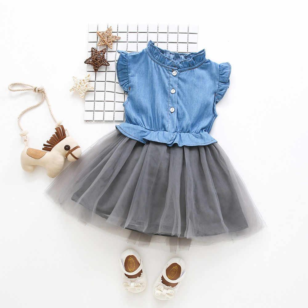 Vestidos de niñas verano 2019 vestido sin mangas de mezclilla princesa tutú vestido de vaquero ropa bata princesa Enfant Fille