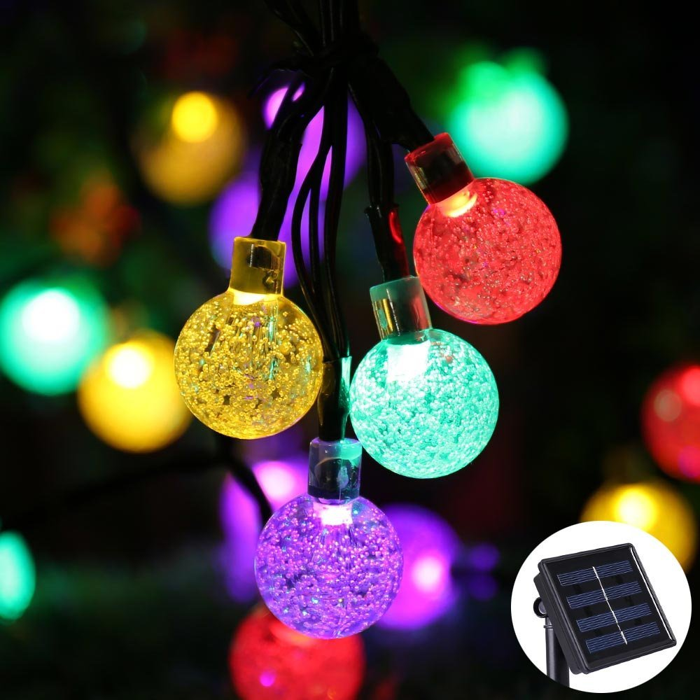 solar powered fairy lights bubble ball 30 led christmas lights outdoor string lighting led strip. Black Bedroom Furniture Sets. Home Design Ideas