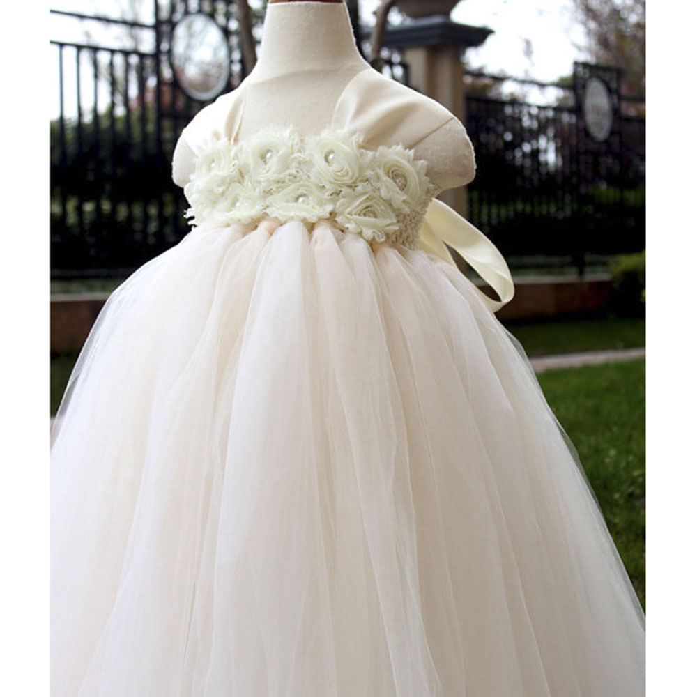 Hot Sale Flower Girl Bridesmaid Wedding Tulle Tutu Dress Champagne Ivory Baby Toddler Birthday Party Tutu Dresses For Photos birthday pink tutu dresses 1st newborns baby girl romper tutu dress set toddler infantil roupas de bebe baby clothes nb 24 month