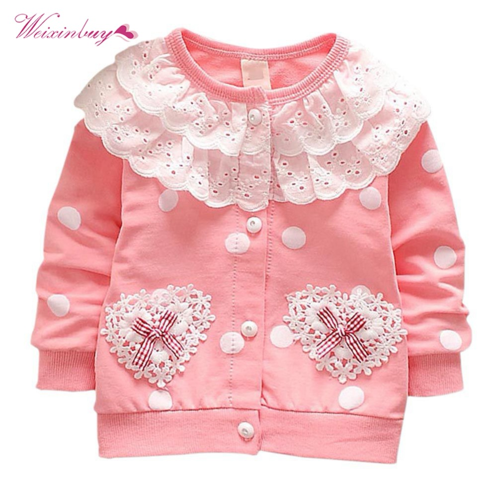 WEIXINBUY Double Lace Pocket Baby Girls Coats Toddler Single Row Button Warm Autumn Winter Jacket Hoodies Sweatshirts