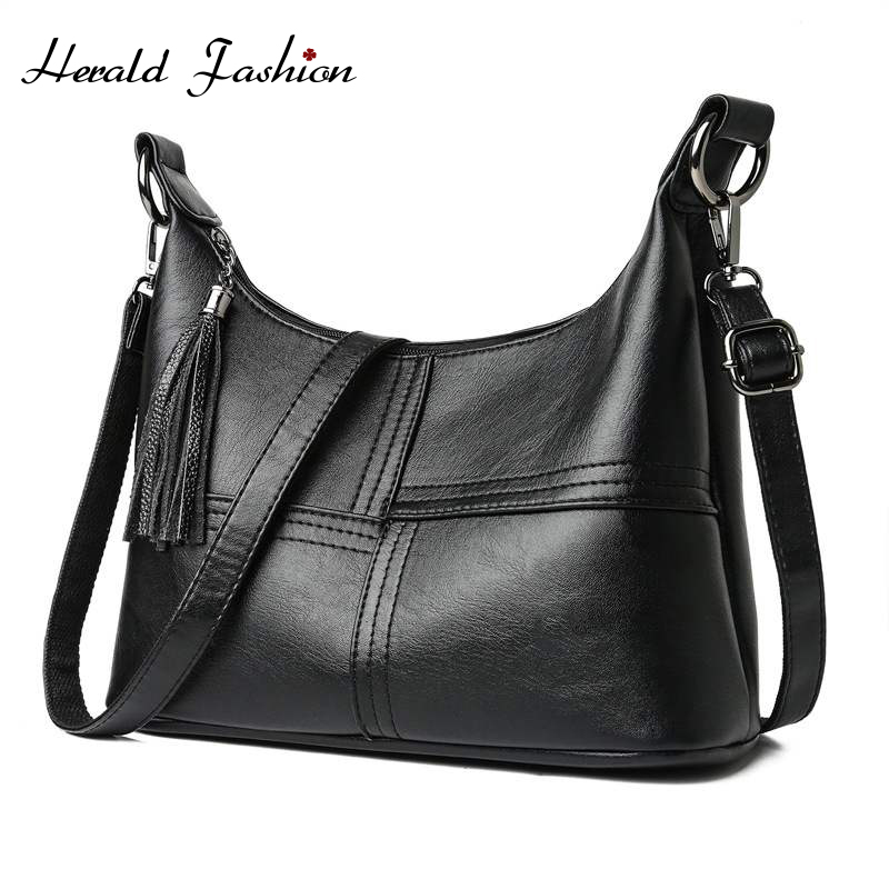 Herald Fashion Vintage Women Leather Handbags Luxury Designer Shoulder Bags High Quality Brand Ladies' Crossbody Bags Bolso Sac