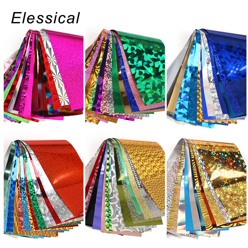 Elessical 16pcs 20*4cm Mix Nail Art Transfer Foil Sticker Ongles Decoration Nail Art Decals Design For Nails Wraps DIY Set Folie