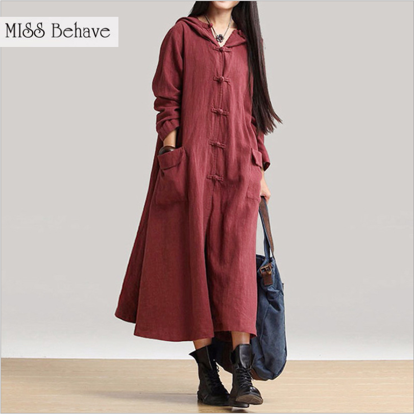 Miss Behave Loose Cotton Long Trench Coat Cardigan Hooded Outwear