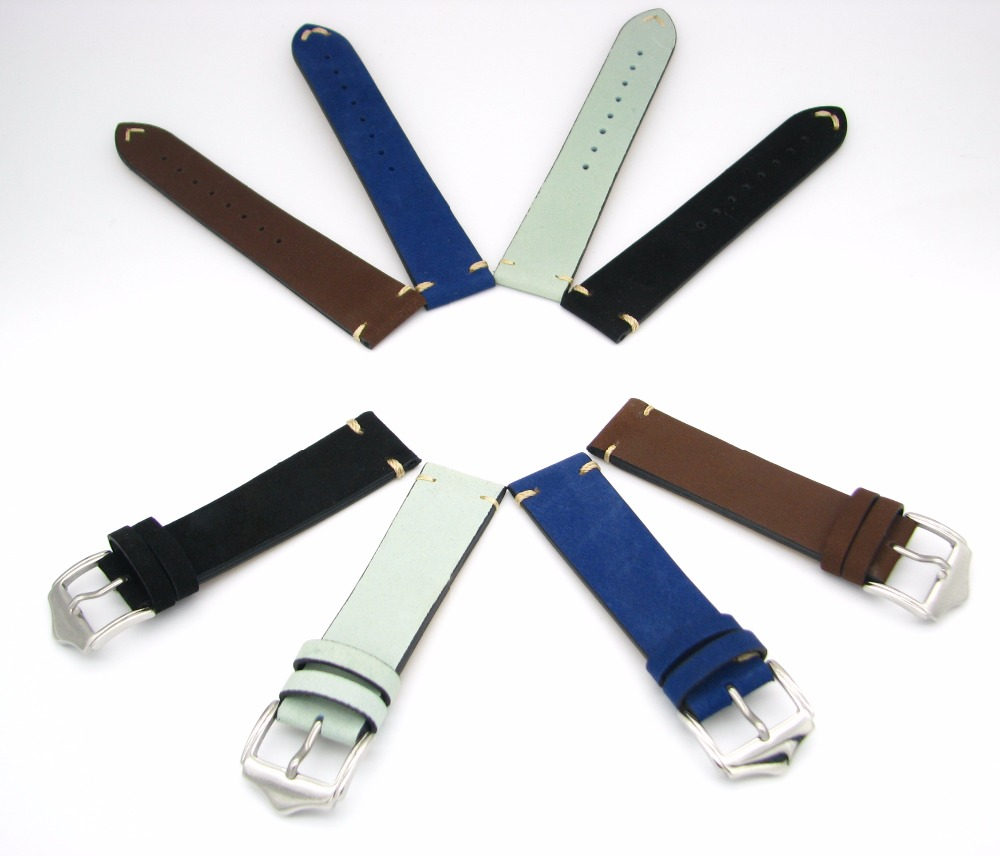 20 22mm Man Lady Genuine Cowhide Suede Leather Black Light Green Blue Dark Brown Watch Band Strap Belt Silver Polish Pin Buckle top grade vintage calfskin genuine leather watch strap 20mm army green tan dark blue green maroon black watchband with buckle