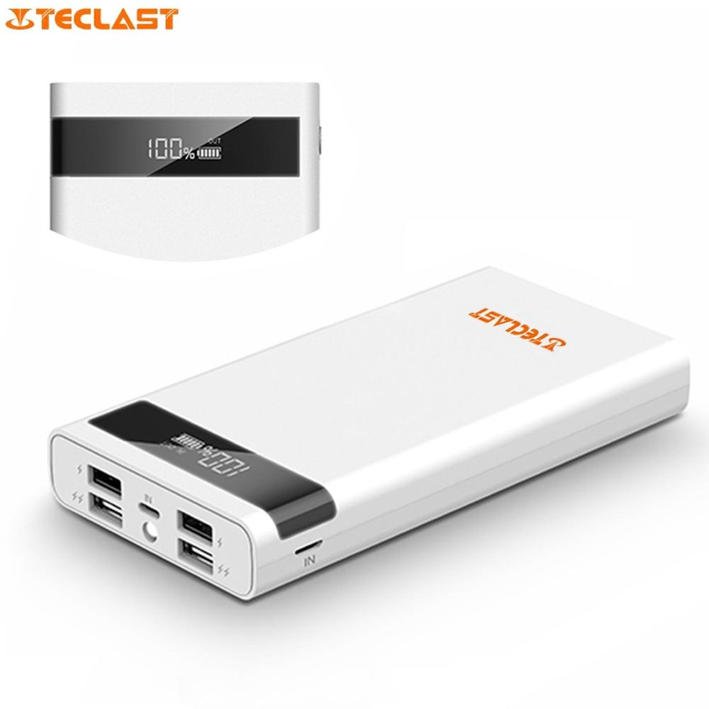 imágenes para Teclast 4 puerto de Salida USB 2.1A T200CE Banco de la Energía 20000 mAh PowerBank Batería Externa Rayo Micro USB de Entrada