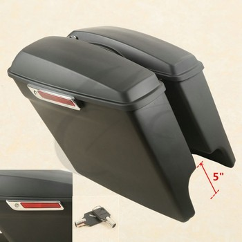 Motorcycle Extended Stretched Saddlebag With Latch Keys For Harley Touring Road King Road Glide Street Electra Glide 2014-2018