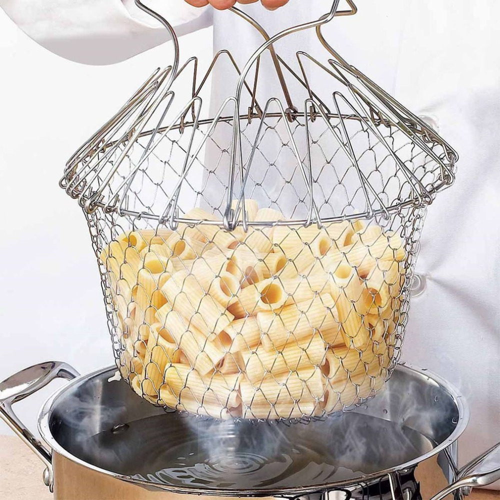 1Pc High Quality Foldable Steam Rinse Strain Fry French Chef Oil Fry Basket Mesh Mesh Basket Strainer Net Kitchen Cooking Tool Colanders & Strainers    - AliExpress