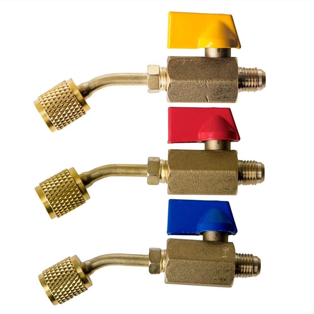 1 Pc Shut Valve Refrigerant R410a R134a HVAC For A/C Charging Hoses Thread Tool Brass цена