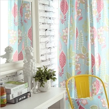 Blue Blackout Curtains For Living Room Bedroom Window Blind Pink Panel Flower Made Curtains store enrouleur occultant Su070 *20