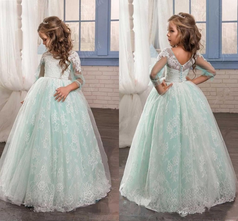 Mint Green Flower Girl Dress for Weddings Tulle with Lace Open Back Ball Gown lace yoke frill trim open back dress