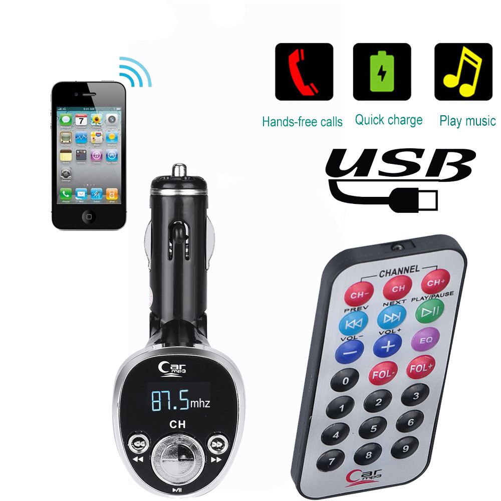 KAILEDI MILEXING Wireless in-Car Radio Transmitter Adapter Car Kit with USB Car Charger Bluetooth FM Transmitter for Car Car MP3 Music Player Support TF Card and USB Flash Drive Black