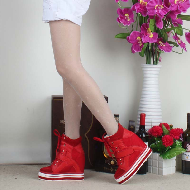 new 2017 wedges high top boots height increasing women lace up mesh breathable top quality platform hidden elevator casual shoes fashion women elevator candy color breathable canvas high platform denim lace up casual shoes height increasing wedges shoes