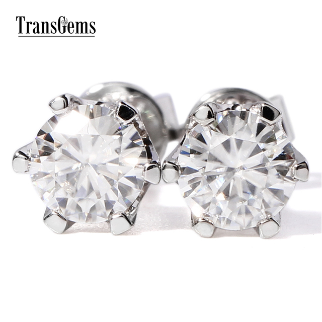 Fine Jewelry 14K White Gold 5mm Round Stud Earrings