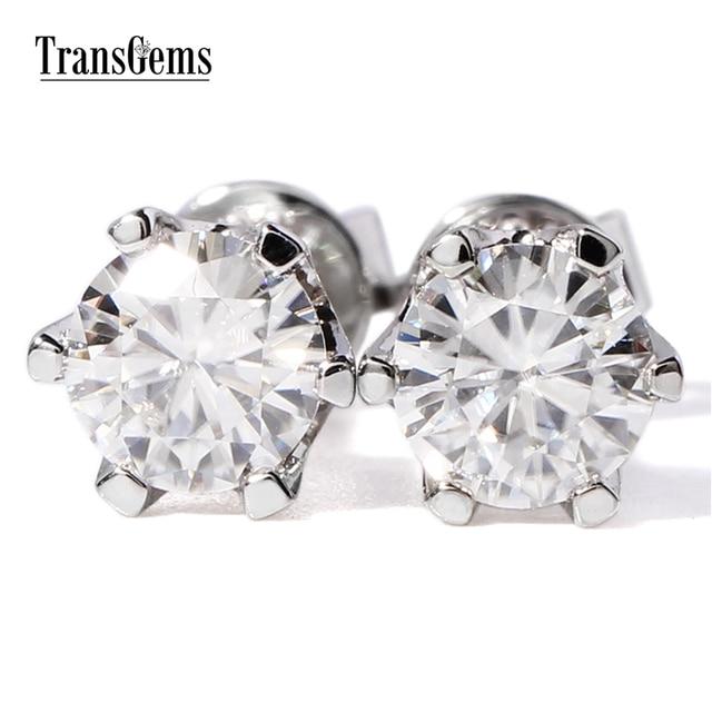 652673f5d TransGems 1CTW 5MM Solid 14K White Gold Moissanite Stud Earring Screw Back  Lab Grown Diamond Earring for Women Fine Jewelry