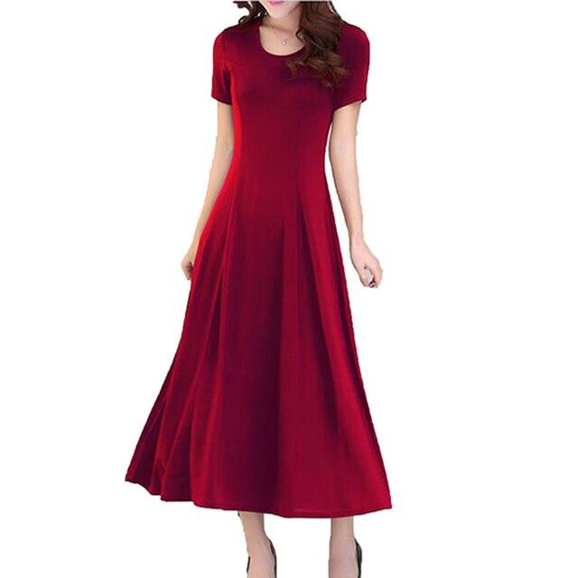 2017 summer new Slim dress short sleeve large size modal long dress O neck Solid color elasticity dress Women LU160