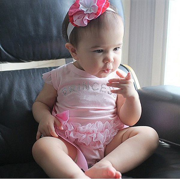 Princess Baby Bodysuits Hot 2017 Brand Pink Lace Spliced Letter Bow-knot Infant Clothing Baby Girls One-piece Bodysuit
