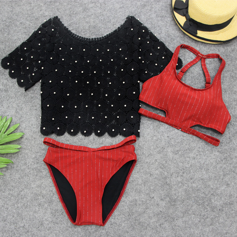 Summer Sexy Girl Cute Bikini Swimwear 3 Pieces Swimsuit with Black Short Beach Smock Hot Beach Wear Striped Bathing Suit cute kids girls swimwear two pieces child swimsuit ruffle children bikini baby girl beach wear with cap shop bb55