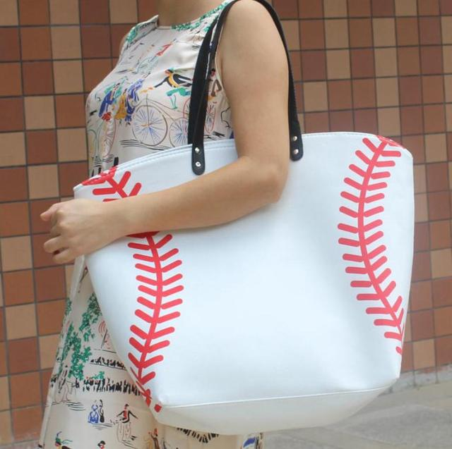 wholesale new yellow softball white baseball Jewelry Packaging Blanks Kids Cotton Canvas Sports Bags Baseball Softball Tote Bag 4