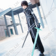 Anime SAO Sword Artwork On-line Kirigaya Kazuto Kirito Cosplay Costumes Halloween for man coat + pants go well with 5pcs outfit