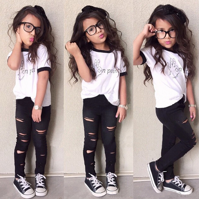3d539842818e6 2016 New Fashion Kids Girls Clothes Set Little Girl Summer Short Sleeve  T-Shirt and Hole Pant Leggings 2PCS Outfit Children Set