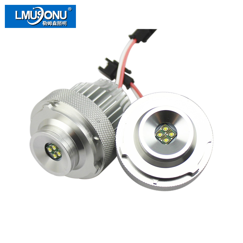 LMUSONU 2 Pcs/Set 20W High Power LED Angel Eyes For LED Chips White For BMW E60 LCI Halogen Headlight Projector Lens