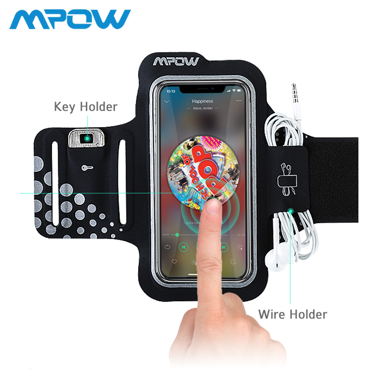 Mpow 5.1inch Arm Band Belt Running Sport Armband Sweatproof For iPhone Xs Samsung Xiaomi Huawei With Card Key Earphone Pocket