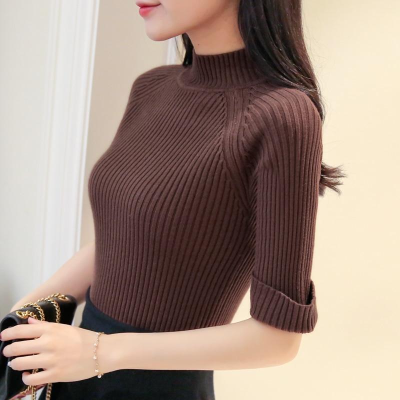 OHCLOTHING Muffen strikker kvindelig slank slank ærmet skjorte farve fem ny kjole sweater kort forår 2018