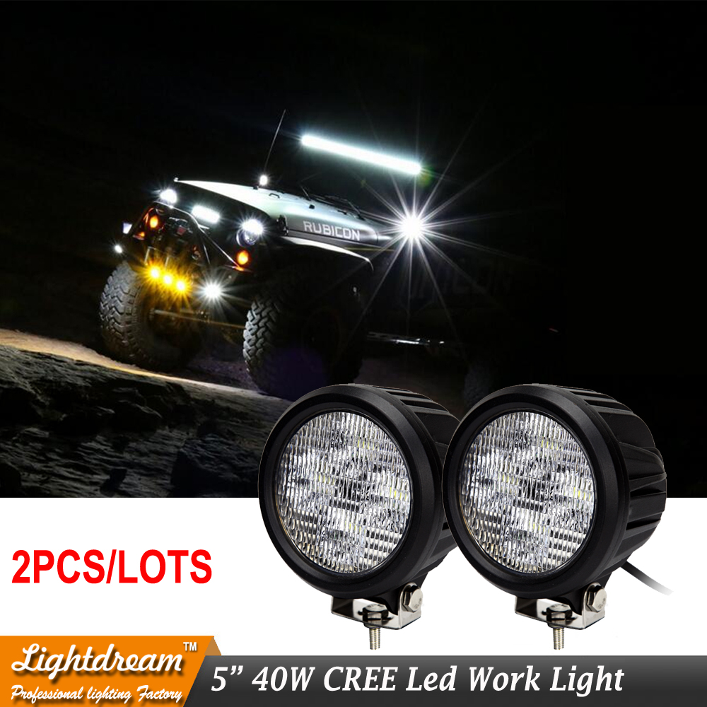 5 inch 40W Led Driving Light Offroad Spot Flood Beam 4x4 Truck ATV Motorcycle Light 12V 24V Rouned led fog light 40W 2pcs/lot 2pcs 36w 7 led light bar spot beam offroad driving light 12v 24v 4x4 truck for atv spotlight fog lamp