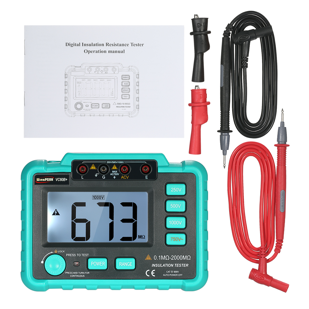 VC60B+ insulation Resistance Tester Meter Megohmmeter Voltmeter electronic diagnostic-tool meter 250V/500V/1000V LCD Backlight insulation resistance tester megohmmeter voltmeter dvm with lcd backlight