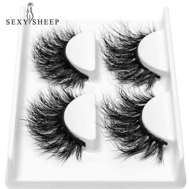 SEXYSHEEP 2pairs 3D Mink Eyelashes 100% Cruelty Free Lashes Handmade Reusable Natural Eyelashes Popular False Lashes Makeup