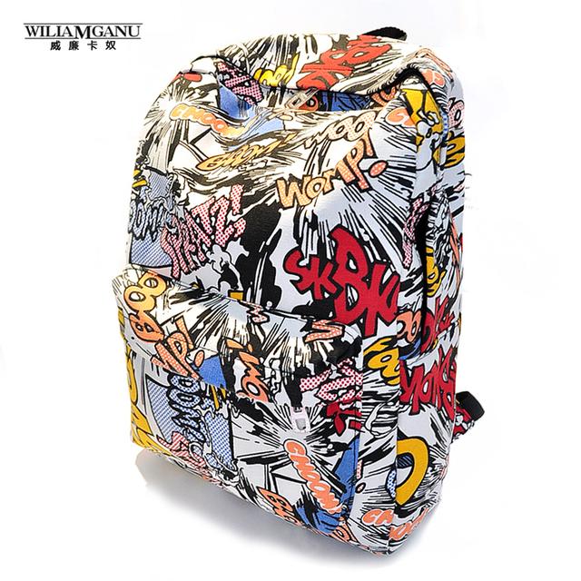 Wiliamganu hippie lona mochilas estudante da escola saco de impressão dos desenhos animados mochila pacote de viagem laptop graffiti bolsa mochila escolar