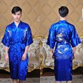Chinese Traditional Men's Silk Satin Embroider Dragon Kimono Yukata Kaftan Robe Gown With Belt S M L XL XXL XXXL 011308