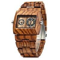 BEWELL Quartz Watch Men Wood Watches, Dual Time Zones Male Dress Watches, Elegant Fashion Waterproof Watches relogio masculino