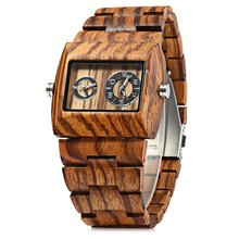 BEWELL Quartz Watch Men Wood Watches, Du