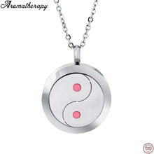 Taichi Adjustable Stainless Steel Link Chain Aromatherapy Essential Oil Perfume Diffuser Locket Jewelry Cremation Urn Necklace