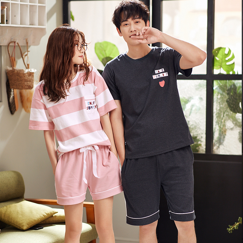 Women's Pajamas summer Short sleeve  Cotton sleepwear Couple lovers Men Sleep pyjamas short Couple Lounge Pajama Set
