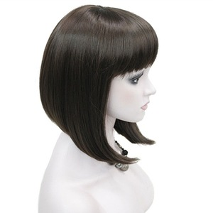 Image 2 - StrongBeauty Womens Wigs Neat Bang Bob Style Short Straight Hair Black/Blonde Synthetic Full Wig 6 Color