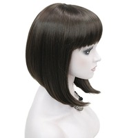 StrongBeauty Women's Wigs Neat Bang Bob Style Short Straight Hair Black/Blonde Synthetic Full Wig 6 Color