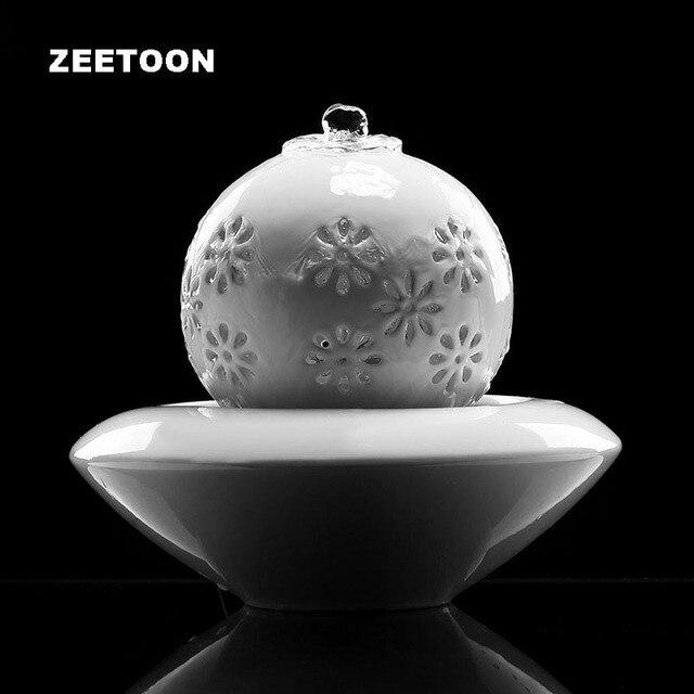 110V-220V European Ceramic Water Fountain Mini Air Humidifier Feng Shui Home Decor Living Desktop Ornament LED Light Atomizer