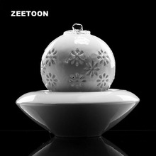 110V-220V European Ceramic Water Fountain Mini Air Humidifier Feng Shui Home Decor Living Desktop Ornament LED Light Atomizer