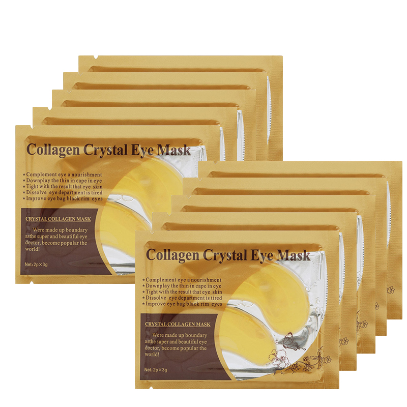 10Pcs=5pack Gold Eye Mask Crystal Collagen Mask Hydrogel Patches for Eyes Anti-puffiness Eyelid Patch Anti-Wrinkle Mask Gel Pads