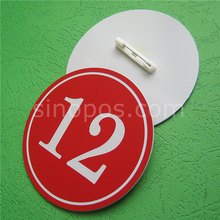 Plastic Number Badge With Safety Pin, discs plate sign pin-on numbered tags show examination liveroom player contestant ID cards