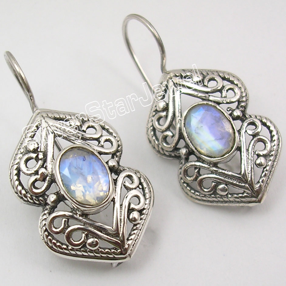 Silver RAINBOW MOONSTONE GORGEOUS NEW Earrings 3CM