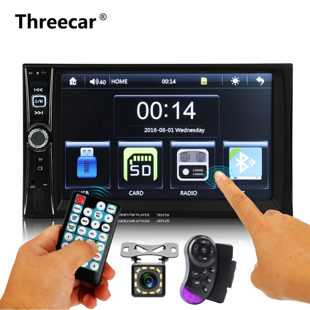 6.6'' 2 DIN Car Stereo Radio Bluetooth MP5 Player FM Touch screen USB AUX MirrorLink Android Double din autoradio 7653TM 7 touch screen mirrorlink bluetooth android car stereo mp5 player gps navigator auto 2 din fm radio autoradio support dvr