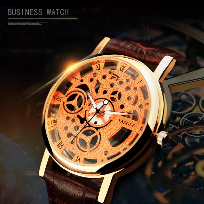 Yazole retro reloj de los hombres relojes de cuero ahueca hacia fuera - Relojes para hombres