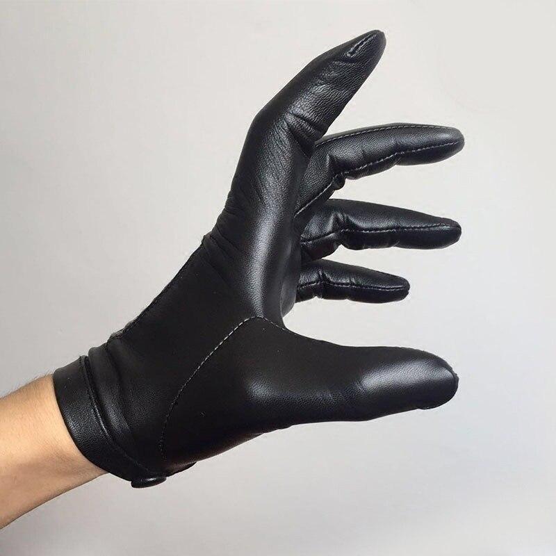 Calharmon hommes une pièce entière de cuir poignet bouton haut gants en cuir noir