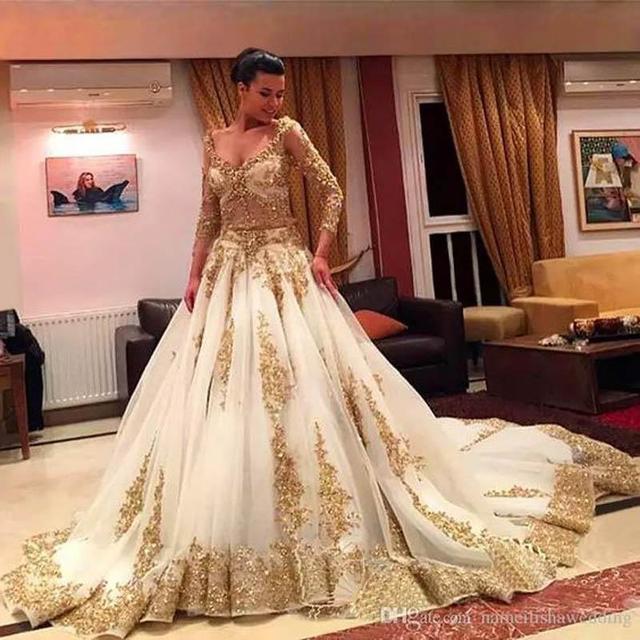 Afrikanischen Traditionellen 2017 Brautkleider Gold Applique Formale ...